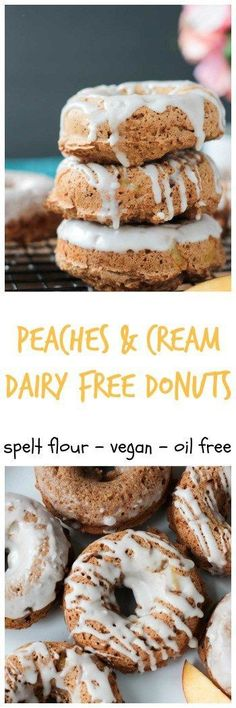 Peaches & Cream Dairy Free Donuts - tender cake donuts made with easier to digest spelt flour and only 1/4 cup of unrefined sugar. They are perfect sweet with fresh diced peaches in every bite. An optional easy glaze made from coconut milk takes these vegan donuts over the top. Quick and easy and kid approved!