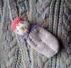 Lavender Filled Sachet Handmade Sock Doll OOAK White with Pink Beaded Hat #Pedricks