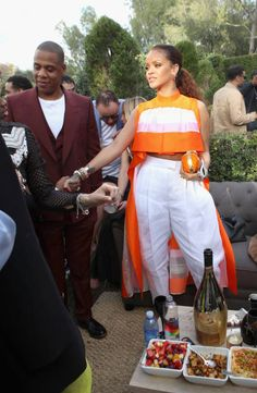 Singer Rihanna and JayZ attend 2017 Roc Nation PreGrammy Brunch at Owlwood Estate on February 11 2017 in Los Angeles California