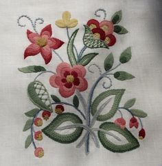 Jacobean crewel work; I enjoyed using wool for a change from floss.
