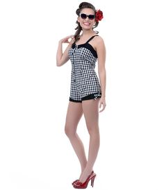 80a8f62141e Pin Up · Black  amp  White Gingham Romper - Unique Vintage - Prom dresses