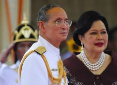 Bhumibol Adulyadej king of Thailand and his wife Sirikit watch the inauguration of a Royal Thai Navy costal patrol boat at the Navy boatyard in...
