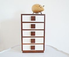 Vintage Wood Storage Box 5 Drawers Cabinet Office by mothrasue
