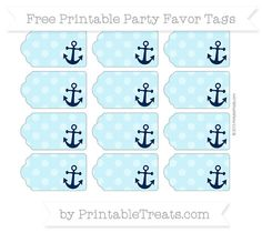 Free Pastel Aqua Blue Dotted Pattern Nautical Party Favor Tags