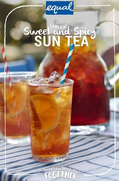 Nothing's better than catching up with friends on a hot summer day–except doing it with a low calorie iced tea. For a more refreshing way to cool down consider adding fresh orange, mint sprigs, and cinnamon cloves to this Sweet & Spicy Sun Tea made with Equal Sweetener. And the best part is you can leave this low-calorie iced tea in the sun to brew while you get filled in on all the latest news. It serves eight, so the more the merrier! Refreshing Drinks, Summer Drinks, Fun Drinks, Healthy Drinks, Mixed Drinks, Healthy Eating, Summer Parties, Healthy Smoothies, Healthy Cooking