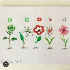 App Drawings, Animal Drawings, Drawing Projects, Art Projects, Social Media Art, Pretty Drawings, Apps, Plant Drawing, Medium Art