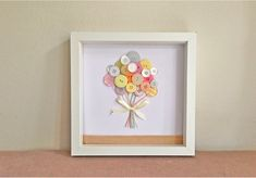 Items similar to Button Art - Nursery Art - Baby Button Balloons - Vintage Button Craft - Cheap International Postage on Etsy