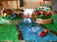 Cross over cake - Cub scouts bridge to Boy Scouts.