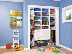Sometimes divide and conquer is the way to go. For this child's bedroom closet, a combination of hanging rods, cubbies, drawers and slide-out baskets helps store both clothes and toys. Use dead space under drawers for pull-out baskets that can provide a home for odd-shaped toys.