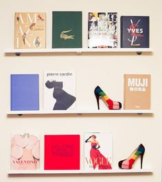 thin bookshelves - great for displaying beautiful books as art!
