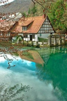 At the Blautopf Natural Spring in Blaubeuren, Germany.