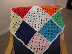 Granny Squares Large hand crochet baby blanket or pram rug available at www.woollygoods.com