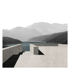 Kukes: House on a Lake by Gianluca Cosimo Iaia, Sonia Paciolla Francesca Papa, Maura Pinto & Piervito Pirulli_Bari University of Architecture Project Collage Architecture, Architecture Drawing Plan, Architecture Graphics, Architecture Visualization, Landscape Architecture, Architecture Design, Landscape Designs, Land Scape, Profile