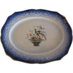 Beautiful Antique Flow Blue Pheasant Platter