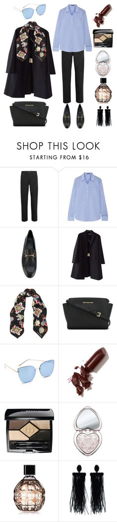 """Floral scarf"" by kimiaataei ❤ liked on Polyvore featuring Yves Saint Laurent, Theory, Gucci, Rochas, Valentino, MICHAEL Michael Kors, Quay, LAQA & Co., Christian Dior and Too Faced Cosmetics"