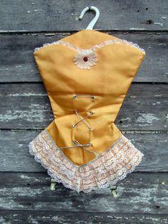 Vintage Lingerie Hosiery bag Corset shaped Lace by Holliezhobbiez