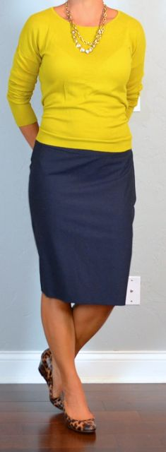 outfit post: mustard sweater, navy pencil skirt, leopard wedges Source by theycallmered Wedges Outfit, Navy Skirt Outfit, Fashion Models, Work Fashion, Modest Fashion, Fashion Outfits, Travel Outfits, Blue Pencil Skirts, Pencil Skirt Outfits