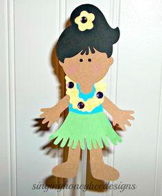 Hula girl toppers Luau Hawaiian girl cake by thesinginghoneybee