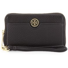 Tory Burch Robinson Pebbled Leather Smartphone Wristlet Wallet ($165) ❤ liked on Polyvore featuring bags, wallets, black, zip around wristlet wallet, black crossbody bag, tory burch, logo wallets and wristlet
