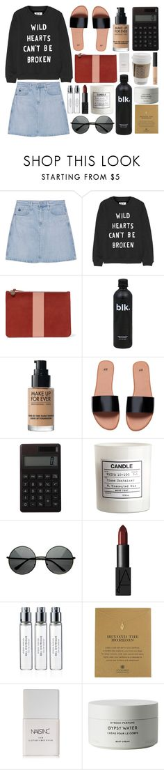 """""""Untitled #674"""" by rheeee ❤ liked on Polyvore featuring AG Adriano Goldschmied, Zoe Karssen, Clare V., Muji, H&M, NARS Cosmetics, Byredo, Dogeared and Nails Inc."""