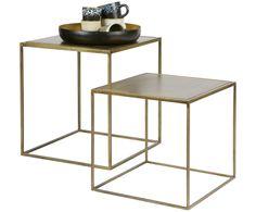 Mit Beistelltisch-Set Industiral in Gold verwandeln Sie Ihr Wohnzimmer in eine Wohlfühloase. Entdecken Sie weitere hochwertige Möbel auf >> WestwingNow. Beistelltisch-Set aus Metall