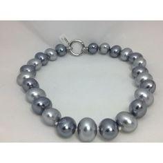 Gargantilla de perlas grises y acero/Pendientes de acero http://relojesplatayacero.com/