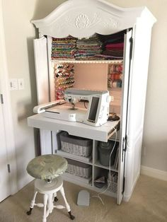 DIY sewing cabinet from an old media cabinet - Hausideen - Diy Furniture Craft Cabinet, Sewing Cabinet, Sewing Desk, Craft Armoire, Sewing Closet, Diy Sewing Table, Tv Armoire, Cabinet Storage, Wardrobe Closet