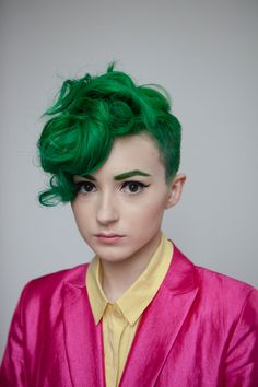 Curly green hair #bright #dyed #coloured #hair