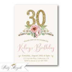 Women S 70th Birthday Invitation 60th Birthday Invitations 50th