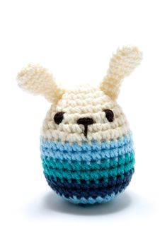 Baby Toys : Mini Bunny Rattle, Crochet with Blue Stripes