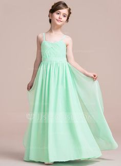 [US$ 67.99] A-Line/Princess Sweetheart Floor-Length Chiffon Junior Bridesmaid Dress With Cascading Ruffles