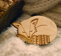 Wooden Fox Brooch