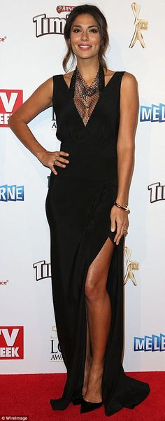 Dazzling decolletage! Home And Away actress Pia Miller also opted for a plunging neckline ...