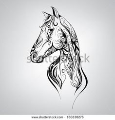 Illustration about Black and white silhouette of a horse in the ornament. Illustration of jumping, cute, part - 37675936 Silhouette Tattoos, Horse Silhouette, Horse Head, Horse Art, Horse Stencil, Horse Tattoo Design, Horse Illustration, Horse Pattern, Animal Tattoos