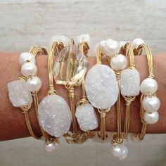 ❥ white crystal druzy and pearls