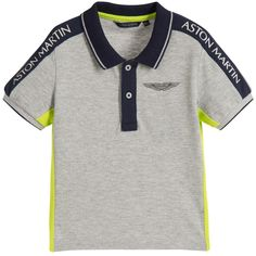 Aston Martin Baby Boys Grey Marl Logo Polo Shirt at Childrensalon.com