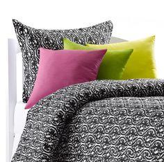 Black and White Vine Dorm Twin XL Comforter   Sham
