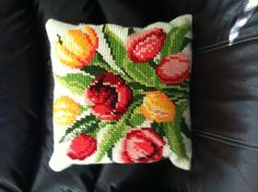 Pillow my mom made for me! My goal is to have my couches full of these pillows just like my Oma