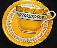 Aynsley Gold Chintz Yellow Cream Tea Cup & Saucer