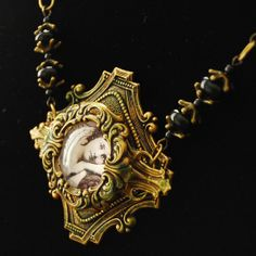 Victorian Onyx Brass and Portrait Filigree Layered by reneesumner, $40.00  I love using B'Sue Boutiques components to create one-of-a-kind items.  They mix beautifully with natural stones and organic materials and fibers, also!
