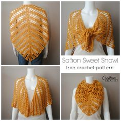 This free crochet pattern for shawl has a magnificent drape. It is also very versatile and can be worn many different ways. The Saffron Sweet Shawl is perfect for cooler summer days and warmer fall nights and everywhere in between. Crochet Bolero, Crochet Shawls And Wraps, Knit Or Crochet, Crochet Scarves, Crochet Clothes, Crochet Hooks, Free Crochet, Crochet Designs, Crochet Patterns