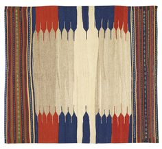 Old Persian Qashqai Sofreh Kilim. Circa 1940s. A sofreh is a flatweave rug made by tribesmen from Persia and the Caucasus as a ground cloth during meals. This example has a striking design in contrasting colours of red, blue and yellow. Offered by Pars Rugs at The Edenbridge Galleries, Kent.