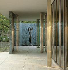 onsomething: onsomething Mies Van der Rohe | Barcelona Pavilion featuring Georg Kolbe sculpture Alba. Photo by Lluis Casals