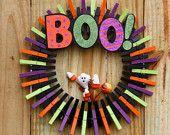 Halloween Wreath Front Door Decor - Halloween Ghost wreath - Boo Wreath - Autumn Home Decor - Fall Decoration - Clothespin Wreath