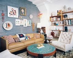 brown leather couch in bohemian room - Google Search