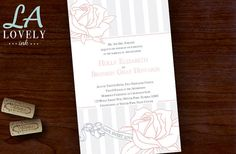Wedding Invitation Gray, Pink Stripes. Colors modifiable. La Lovely Ink. 100 count for $149.00 with Envelopes!