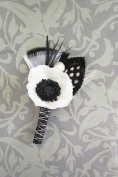 Anemone Wedding Boutonniere\/Corsage, Vintage Inspired.