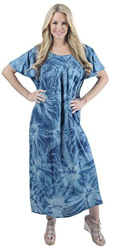 edae8dc3e6 La Leela Plus Size Beachwear Women s Tie Dye Rayon Maxi Swimsuit Casual  Beach Dress Caftan Cover up Cap Sle…
