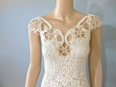 Victorian Lace Wedding DRESS Bohemian Crochet by MuseClothing, $355.00