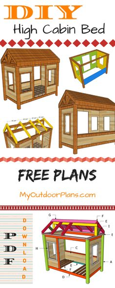 This step by step diy project is about wood cabin bed plans. If you want to surprise your kid with a thematic bed frame but don't want to spend a fortune on it, this free plan will help you achieve than and even more. Woodworking Furniture, Woodworking Plans, Woodworking Projects, Bed Frame Plans, Bed Plans, Diy Cabin Bed, Ab Workout With Weights, Building A Cabin, Wooden Playhouse